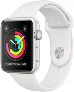 Watch 42mm Silver Aluminum Case with White Sport Band (MTF22) Series 3 GPS (2018)