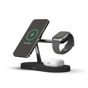 Док-станция Amaztec 3-in-1 Magnetic Wireless Charger with Light Black