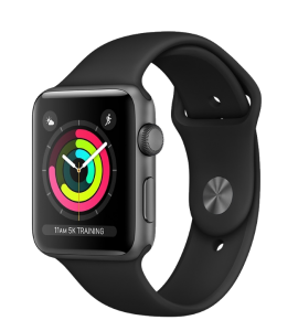 Watch 42mm Space Gray Aluminum Case with Black Sport Band (MTF32) Series 3 GPS (2018)