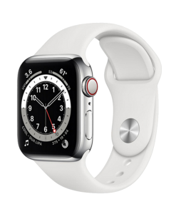 Watch 40mm Silver Stainless Steel Case with White Sport Band (M06T3/M02U3) Series 6 GPS + LTE