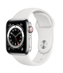 Watch 44mm Silver Stainless Steel Case with White Sport Band (M09D3/M07L3) Series 6 GPS + LTE