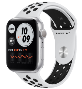 Watch 44mm Nike+ Silver Aluminium Case with Pure Platinum Black Nike Sport Band (MYYH2) Series SE GPS EU