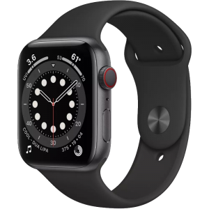 Watch 40mm Space Gray Aluminum Case with Black Sport Band (M02Q3/M06P3) Series 6 GPS+ LTE