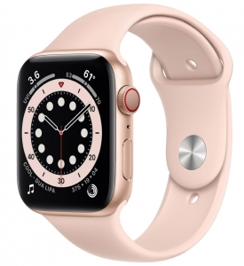 Watch 44mm Gold Aluminum Case with Pink Sand Sport Band (M07G3) Series 6 GPS+ LTE