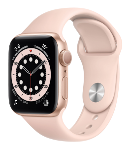 Watch 44mm Gold Aluminum Case with Pink Sand Sport Band (M00E3) Series 6 GPS