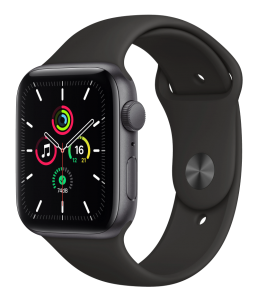 Watch 44mm Space Gray Aluminum Case with Black Sport Band (MYDT2) Series SE GPS